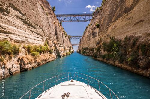Obraz na plátně Passing through the Corinth Canal by yacht, Greece
