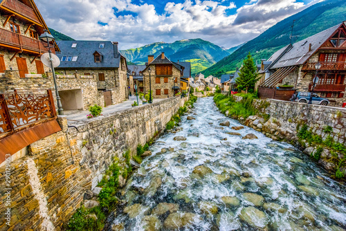 Village of Viella in the Pyrenees in Spain