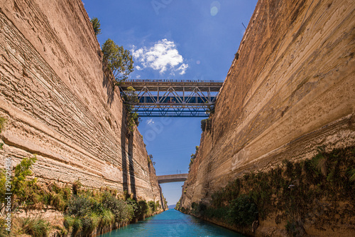 Valokuvatapetti Passing through the Corinth Canal by yacht, Greece