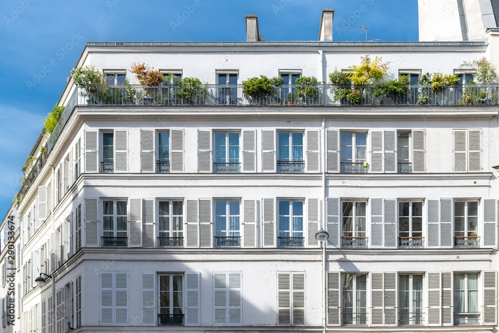 Fototapety, obrazy: Paris, charming street and buildings, typical parisian facades in the Marais