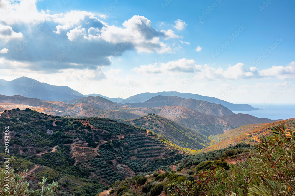 Fototapety, obrazy: Beautiful landscape of Crete, sea and mountain.