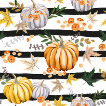 Autumn Orange Pumpkins, Flowers, Leaves, Striped Background. Vector Seamless Pattern. Fall Season Illustration. October Harvest. Organic Vegetable Garden Food. Nature Design. Thanksgiving Day