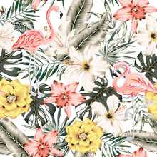 Flamingo, Hibiscus, Orchid Flowers, Monstera Palm Leaves, White Background. Vector Floral Seamless Pattern. Tropical Illustration. Exotic Plants, Birds. Summer Beach Design. Paradise Nature