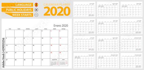 Photo Spanish calendar planner for 2020