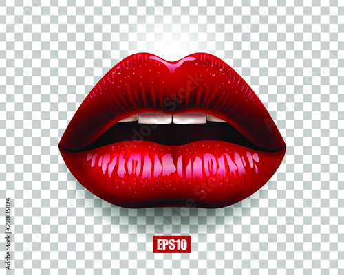 Sexy red lips isolated on transparent background Fototapet