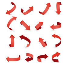 Red Ribbon Arrow Set. Arrow Stickerst Various Angles And Directions.