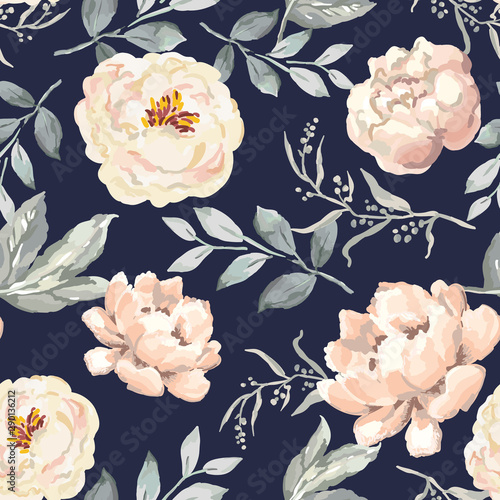 Türaufkleber Künstlich Creamy blush peony flowers and gray leaves print, navy background. Delicate illustration. Vector seamless pattern. Botanical design. Floral graphic. Nature summer plants. Romantic wedding