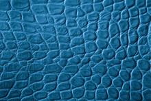 Texture Of Genuine Leather Close-up, Turquoise Blue Color, Embossed Under The Skin Of Reptile, Croco. For Modern Pattern, Wallpaper Or Banner Design