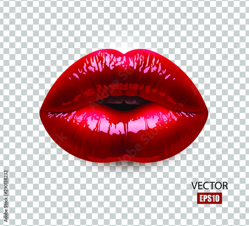 Fototapeta Red sexy female lips isolated on a transparent background, an air kiss, beautiful lips, beauty, red lipstick, cosmetics