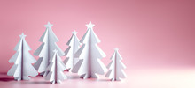 Paper Christmas Tree On Pink Background