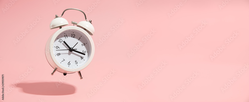 Fototapety, obrazy: Pink Alarm clock on pastel pink background.