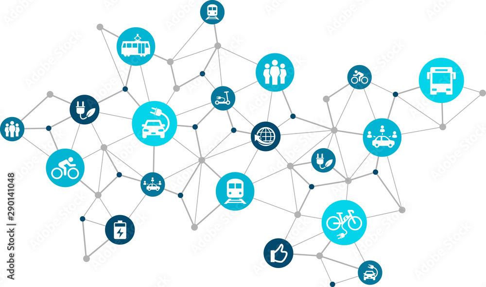 Fototapeta new mobility icon concept: modern individual transportation alternatives, e-car, e-bike, scooter, car sharing - vector illustration