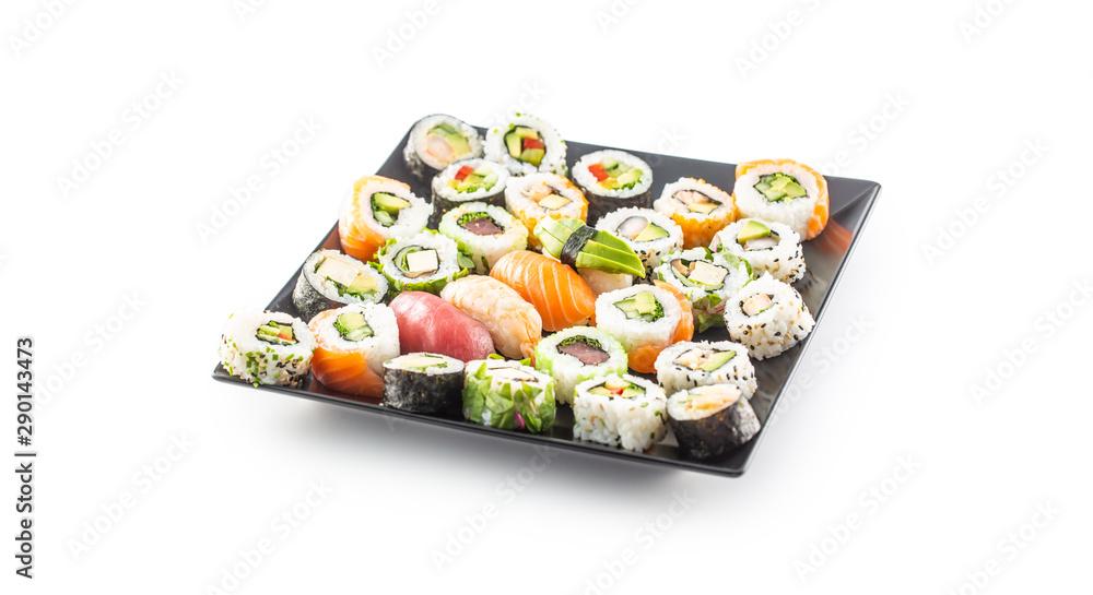 Fototapety, obrazy: Assortment of japanese sushi rolls nigiri sashimi and maki isolated on white