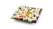 Assortment of japanese sushi rolls nigiri sashimi and maki isolated on white