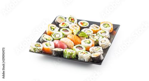 Fototapeta Assortment of japanese sushi rolls nigiri sashimi and maki isolated on white obraz