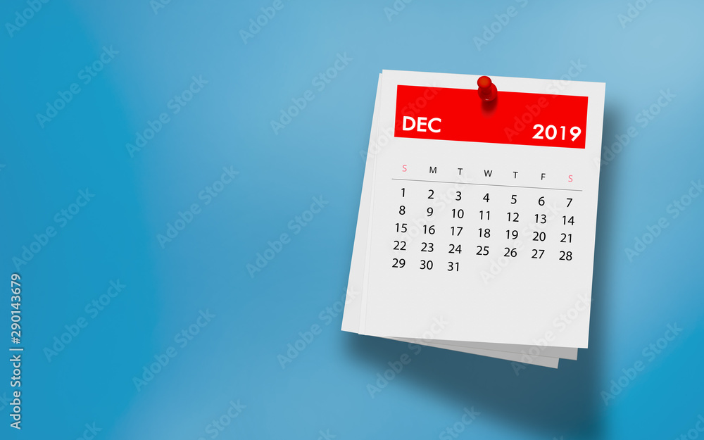 Fototapety, obrazy: December 2019 Calendar on Note Pad Against Colorful Background