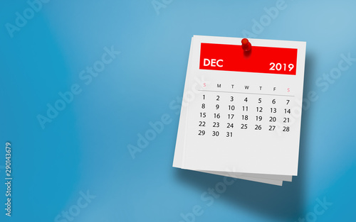 Obraz December 2019 Calendar on Note Pad Against Colorful Background - fototapety do salonu