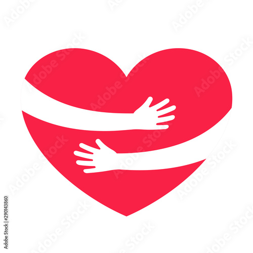 Pinturas sobre lienzo  Hands embracing red heart with love