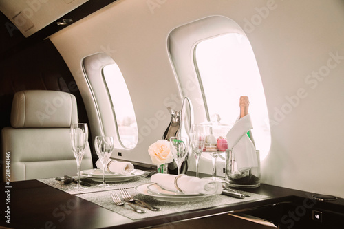 Canvas-taulu modern and comfortable interior of business jet aircraft with decor