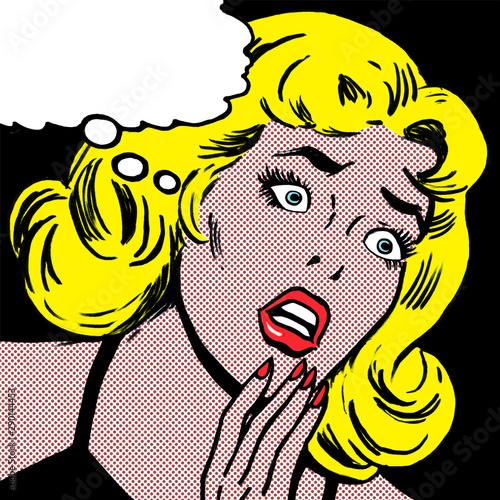 Photo illustration of a scared woman in the style of 60s comic books, pop art