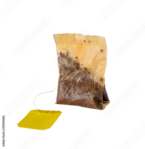 Used wet teabag isolated on white background closeup Wall mural
