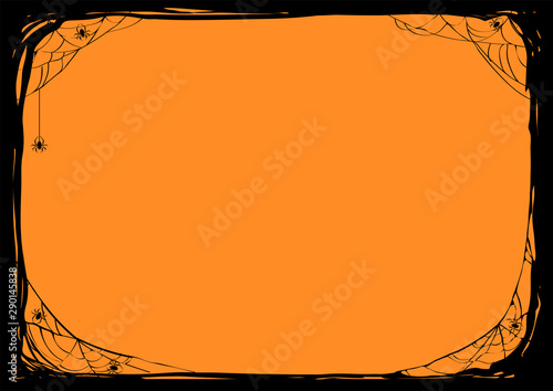 Halloween night background with spiders and web Tablou Canvas