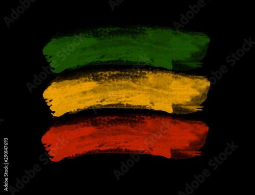 Fotografía Green yellow red brush, reggae background