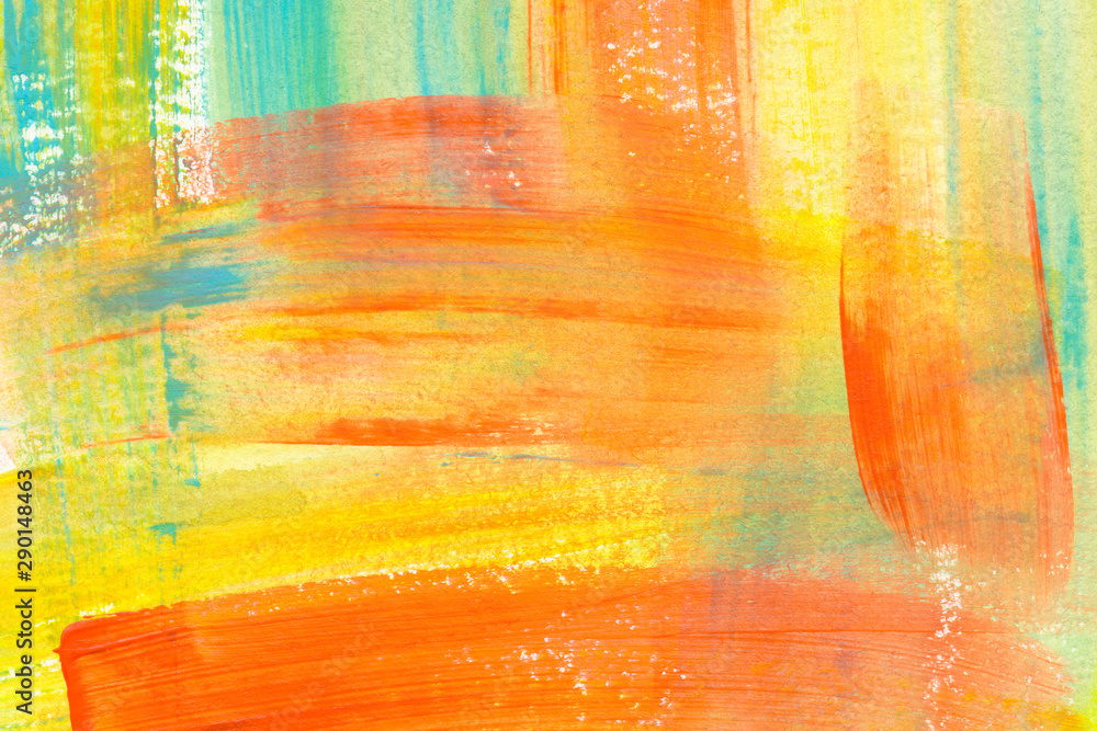 Fototapeta Yellow, orange and blue hand drawn acrylic painting. Chaotic decorative expressionist artwork.