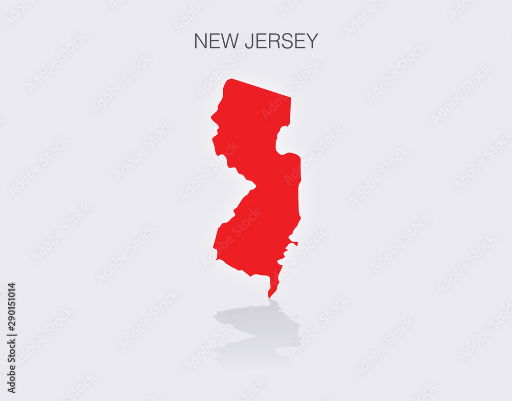 Fototapety, obrazy: State of New Jersey Map in the United States of America