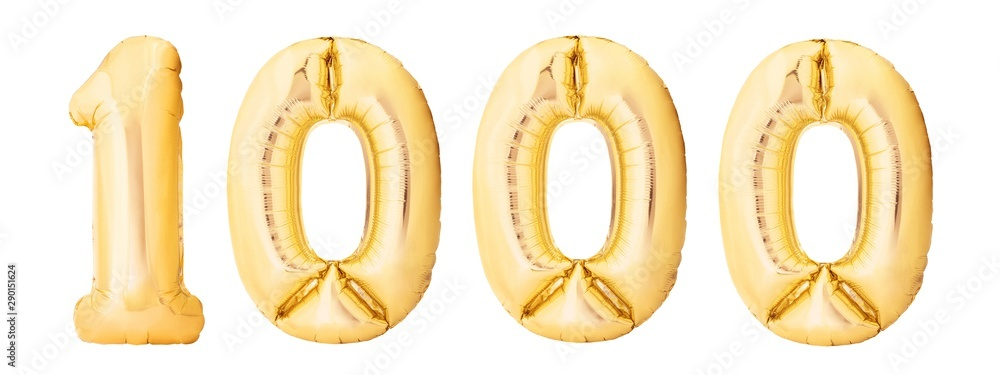 Fototapeta Number 1000 one thousand made of golden inflatable balloons isolated on white background. Helium balloons 1000 one thousand number