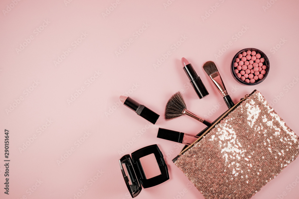 Fototapety, obrazy: Makeup cosmetic flay lay pink cloral background