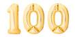 Leinwanddruck Bild - Number 100 one hundred made of golden inflatable balloons isolated on white background. Helium balloons 100 one hundred number