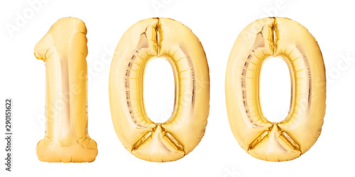 Fotografía Number 100 one hundred made of golden inflatable balloons isolated on white background