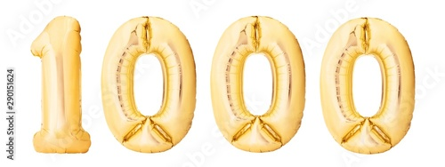 Cuadros en Lienzo Number 1000 one thousand made of golden inflatable balloons isolated on white background