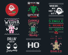 Funny Christmas Graphic Prints Set, T Shirt Designs For Ugly Sweater Xmas Party. Holiday Decor With Xmas Tree, Santa, Gingerbread Texts And Ornaments. Fun Typography. Stock Vector