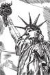 Rysynek ręcznie rysowany. Widok na statue wolności w Nowym Jorku w USA