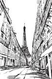 Fototapeta Miasto - Rysynek ręcznie rysowany. Widok na ulicę w Paryżu we Francji
