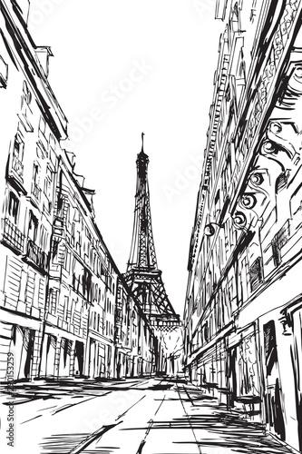 Fototapeta Rysynek ręcznie rysowany. Widok na ulicę w Paryżu we Francji obraz