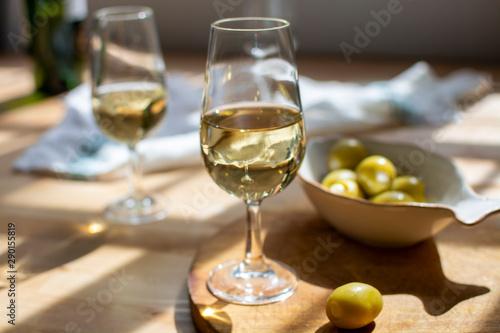 Sherry wine tasting, dry fino  jerez fortified wine made from palamino white gra Fototapeta