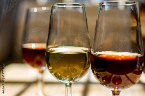 Sherry wine tasting, selection of different jerez fortified wines made from palamino, pedro ximenez and muscat white grapes, El Puerto de Santa Maria, Andalusia, Spain - 290155835