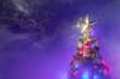 Leinwanddruck Bild - Christmas tree with festive lights, purple background with smoke