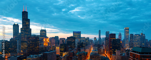 Obraz Downtown chicago cityscape skyscrapers skyline at dawn - fototapety do salonu