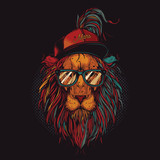 Unique, high quality vector illustration. A hipster lion with a hat and transparent glasses.