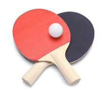 Ping Pong Paddles Crossed With Ball