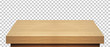 Perspective view of wood or wooden table top isolated on checkered background including clipping path