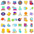 Research icons set. Cartoon set of 36 research vector icons for web isolated on white background