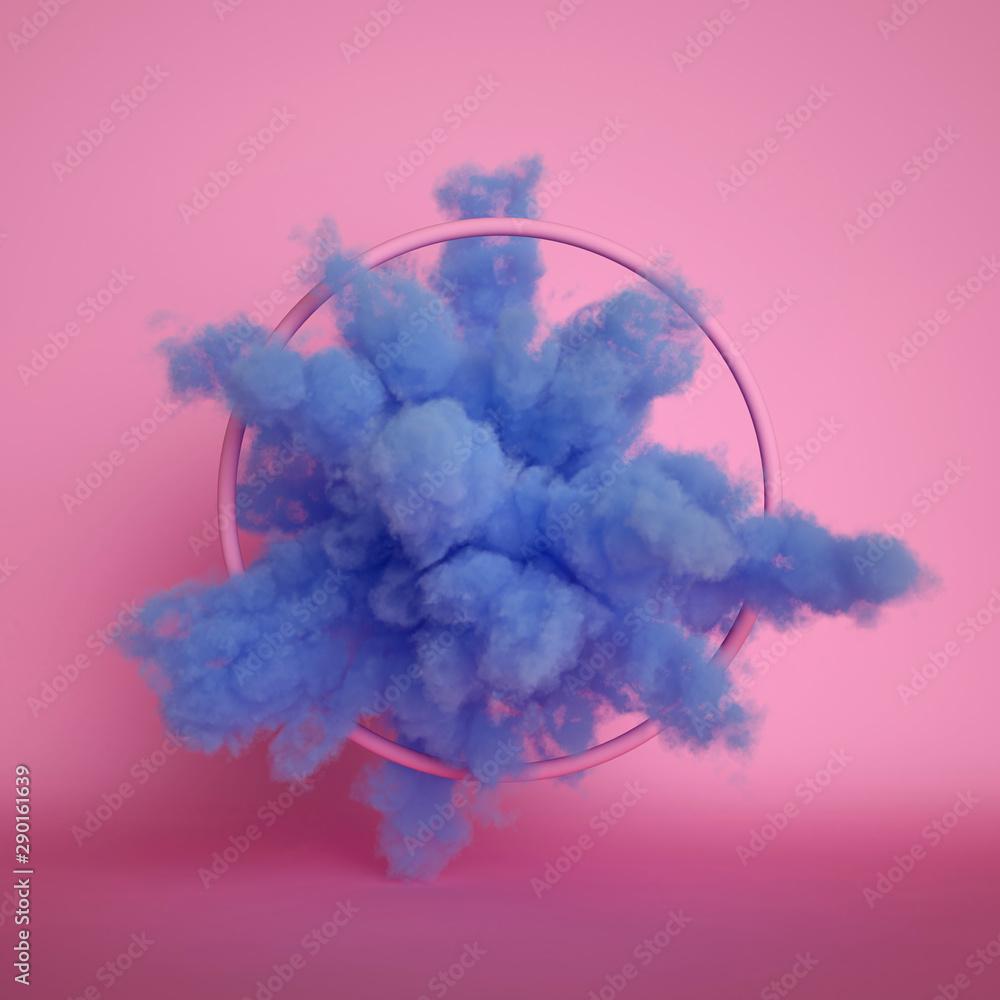Fototapeta 3d render, fluffy blue cloud isolated on pink background, dust or mist, object inside round frame