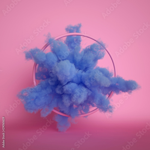Obraz na płótnie 3d render, fluffy blue cloud isolated on pink background, dust or mist, object i