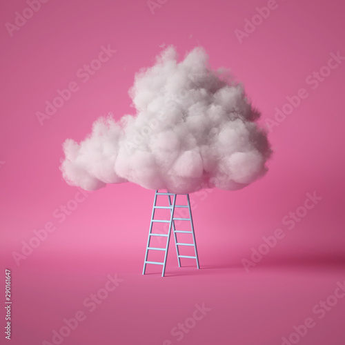 Fotografía 3d render, white fluffy cloud above the blue ladder, isolated on pink background