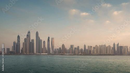 timelapse of skyscrapers in Dubai Marina, sunset time, UAE Wallpaper Mural